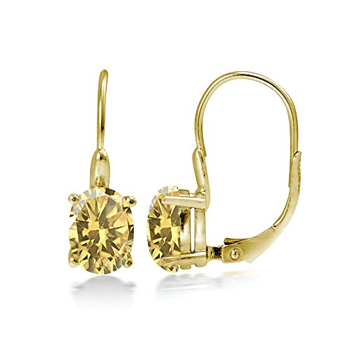 Yellow Gold Flashed Sterling Silver Citrine 8x6mm Oval Leverback Earrings