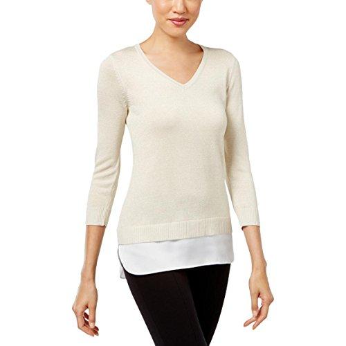 Silk Blend Sweater Dress (Calvin Klein Womens Metallic Silk Blend Pullover Sweater Gold XL)