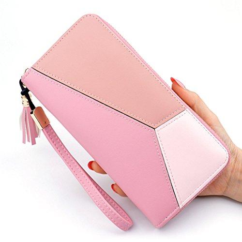 NEWANIMA Wallet Women Multi-card Long Clutch PU Leather Fashion Purse Lady Handbag Bag With Credit Card Holder(Style2-Pink)