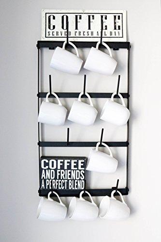 Claimed Corner Mini Wall Mounted Mug Rack - 4 Row Metal Storage Display Organizer For Coffee Mugs, Tea Cups, Mason Jars, and More. by Claimed Corner (Image #3)