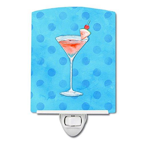 Caroline's Treasures Summer Martini Blue Polkadot Ceramic Night Light, 6 x 4