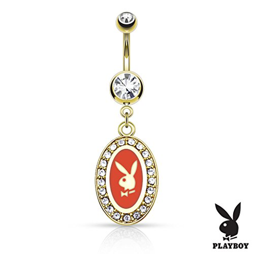Inspiration Dezigns 14GA Playboy Bunny Round Frame with Paved Gems Dangle 14kt Gold Plated Navel Ring (Red) ()