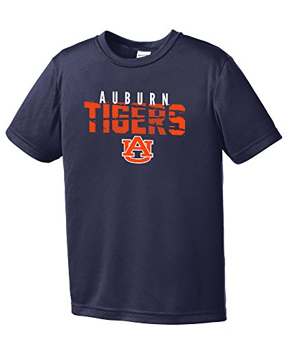 NCAA Auburn Tigers Youth Boys Destroyed Short sleeve Polyester Competitor T-Shirt, Youth Large,Navy