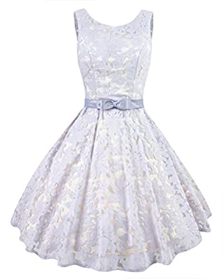 Levory J Women's Vintage Floral Lace Contrast Bow Cocktail Evening Dress