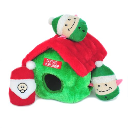 ZippyPaws Holiday Santa's Workshop Burrow – Squeaky Plush Hide-and-Seek Dog Toy, My Pet Supplies