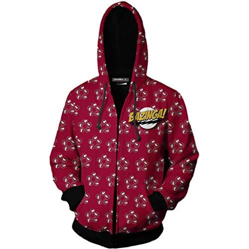 HPY Cosplay The Big Bang Theory Bazinga Hoodie Costume Sweatshirt Coat Jacket Christmas Halloween XL Red