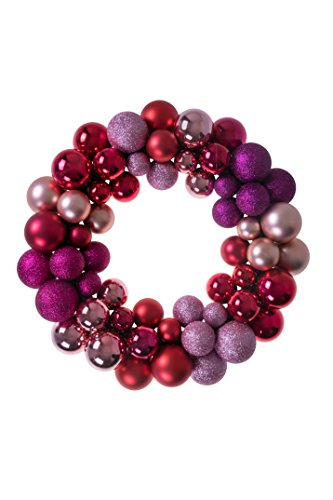 Christmas Ornament Wreath by Clever Creations | Red, Pink and Purple | Festive Holiday Décor | Modern Theme | Lightweight Shatter Resistant | Indoor or Outdoor | Countless Uses | 13.5