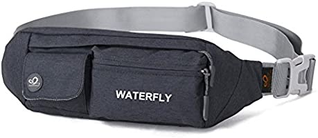 Waterfly Fanny Pack Slim Soft Polyester Water Resistant Waist Bag for Man Women Carrying iPhone Xs / 8 Plus Samsung S10...