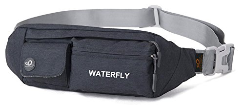 Waterfly Fanny Pack Slim Soft Polyester Water Resistant Waist Bag Pack for Man Women Carrying iPhone 8 Samsung S6