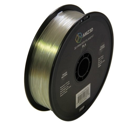 1.75mm Transparent Natural PLA 3D Printer Filament - 1kg Spool (2.2 lbs) - Dimensional Accuracy +/- 0.03mm AMZ3D