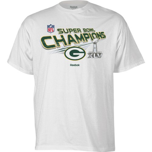 Super Bowl Packers Green Wins Bay - Reebok Green Bay Packers Super Bowl XLV Champions Youth (8-20) Trophy T-Shirt Small