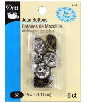 "PRYM-DRITZ CORP No-Sew Jean Buttons 5/8"" 6/Pkg-Antique Brass"