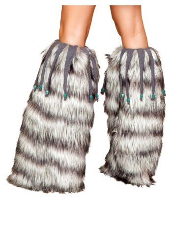 Fur Leg Warmer with Beaded Fringe Costume Accessory