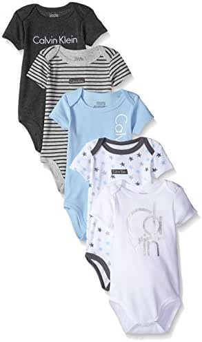 Calvin Klein Baby-Boys Newborn 5 Pack Short Sleeve Bodysuits Blue and Gray