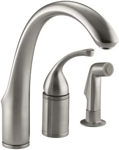 KOHLER 10430-VS Fort R 3-Hole Remote Valve Sink 9 spout with Matching Finish sidespray Kitchen Faucet, Vibrant Stainless