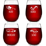 Find Your Drinking Spirit Animal with Cute Saying Wine Glasses A great gift for any occasion, this novelty wine glass set includes four quality stemless wine glasses, each with their own unique animal and saying. Which drinking spirit animal ...