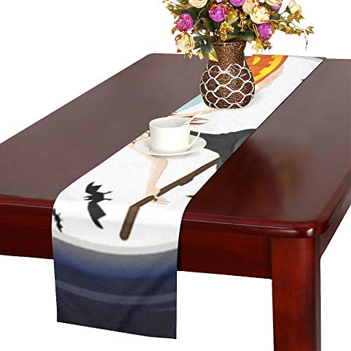 Beautiful Witch Flying Night Her Broom Table Runner, Kitchen Dining Table Runner 16 X 72 Inch for Dinner Parties, Events, Decor ()
