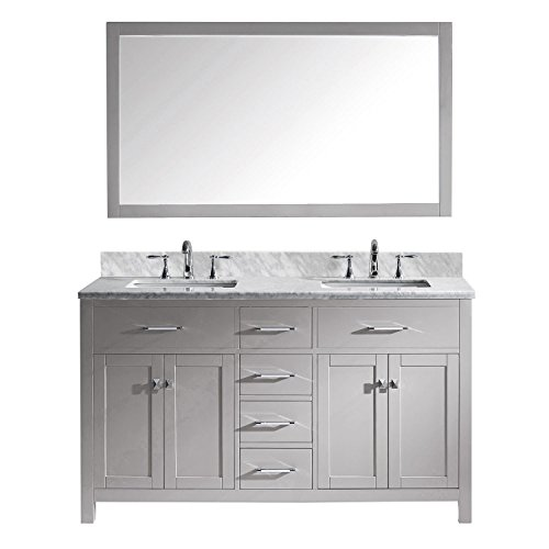 Virtu USA MD-2060-Wmsq-CG Caroline Double Bathroom Vanity with Marble Top/Square Sink with Mirror, 60', Cashmere Grey