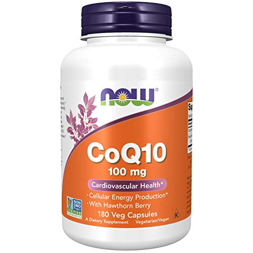 NOW Supplements, CoQ10 100 mg with Hawthorn Berry, Pharmaceutical Grade, All-Trans Form produced by Fermentation, 180 Veg Capsules