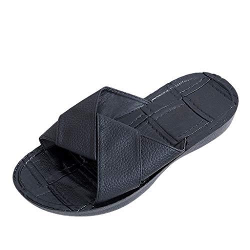 HYIRI Summer Open Toe Sandals ,Men's Cross-Strap Slippers Non-Slip Flat Beach Slippers Black