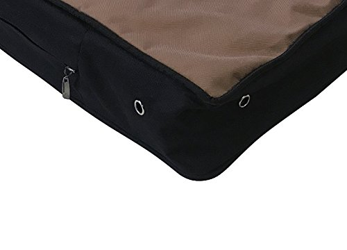 Durable Tough Deluxe Top Quality OXFORD Fabric 100% Waterproof Washable Luxury Comfort Replacement Dog Bed Zippered Cover Case - Cover Only (XL 48x30x4 inches, Standard Brown) (Dog Mattress Replacement Cover)