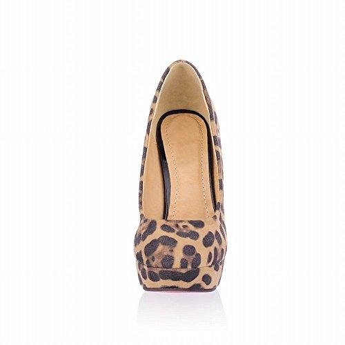 MissSaSa Damen Leopard Plateau Pumps mit stiletto high-heels runde Spitze Party/Büroschuhe Beige