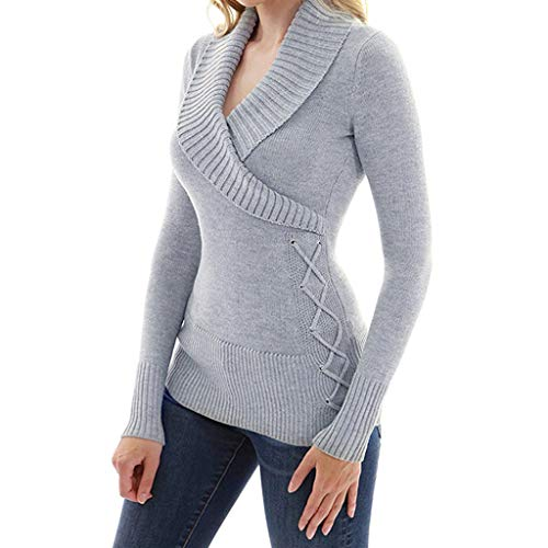 Lowpricenice DaySeventh Women Wrap Front Cross V Neck Long Sleeve Jumper Pullover Tops Knit Sweater
