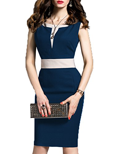 WOOSEA Women's 2/3 Sleeve Colorblock Slim Bodycon Business Pencil Dress (Medium, Navy Blue #2)
