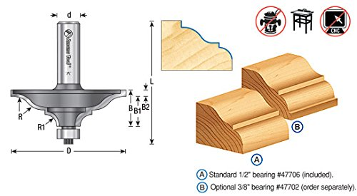 Carbide Tipped Router Bit (Amana Tool 45780 Carving and Engraving 2-Flute Carbide Tipped Router Bit, 1/4-Inch Shank)