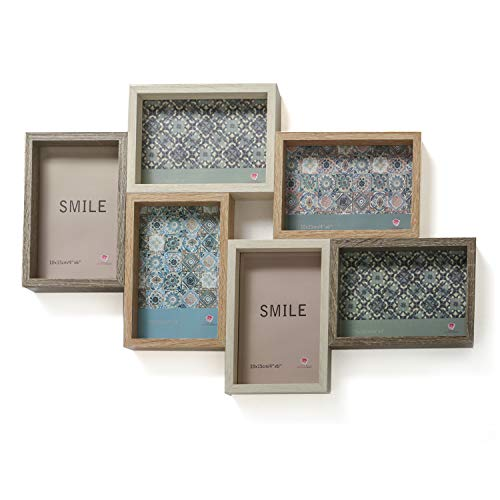 """Fashioncraft Wood Puzzle Collage Picture Frame - 6 Openings for A 4"""" x 6"""" - Perfect for Wedding Gift, Engagement Gift Collage Wood Picture Frames, Multi Frame Picture Frame"""