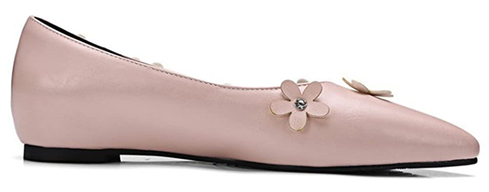 SHOWHOW Womens Sweet Flower Bow Pointy Toe Flats Shoes