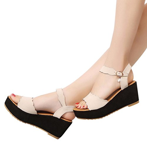 Price comparison product image Women High Heels Sandals, Hemlock Office Lady Wedges Shoes Open Toe Thick Bottom Platform Shoes (US:8.5,  Beige)