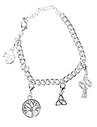 Celtic Charms Silver Irish Tree of Life Trinity Knot and Celtic Cross Charm Bracelet
