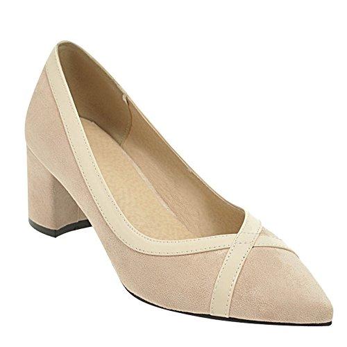 Mee Shoes Damen Blockabsatz Zweifarbig Geschlossen Pumps Beige ...