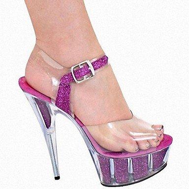 RTRY Zapatillas De Mujer &Amp; Flip-Flops Zapatillas Pvc Summer Party &Amp; Noche Crystal Stiletto Talón Ruby Negro Blanco 5En &Amp; Más US5.5 / EU36 / UK3.5 / CN35