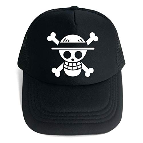 One Piece Anime Skull Straw Hat Luffy Cartoon Mesh Base Ball Hat Cosplay Prop Halloween