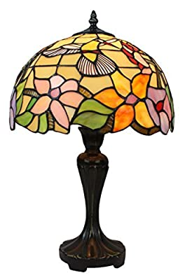 Amora Lighting AM1112TL12 Tiffany Style Hummingbird Table Lamp 19 In