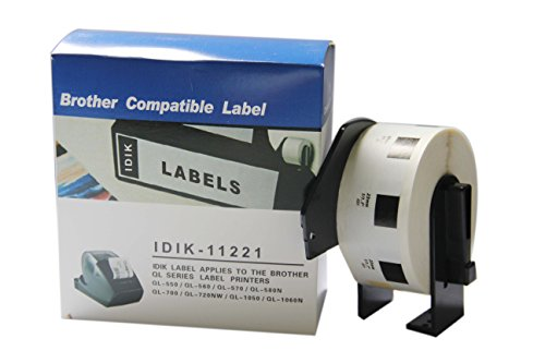 IDIK-11221 Replacement Labels Compatible with Brother DK-1221 Square Labels 23mm x 23mm x 1000pcs/Roll Packed in Individual Printed Retail Box with Permanent Cartridge