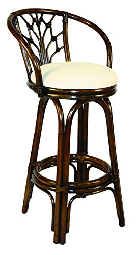 Hospitality Rattan 806-6094-ATQ-B Valencia Indoor Swivel Rattan & Wicker Bar Stool in Antique Finish with Cushion, 30