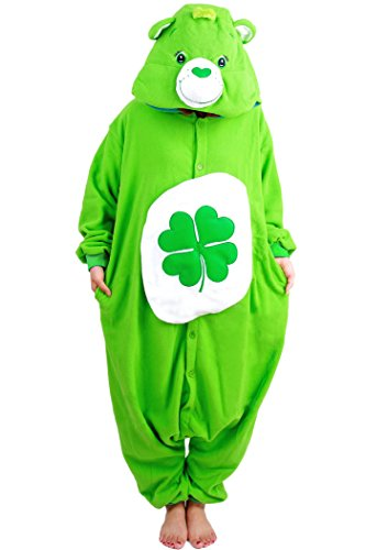 WOTOGOLD Animal Cosplay Costume Four Leaf Clover Bear Unisex Adult Pajamas Green