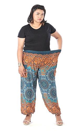 CandyHusky hippy Boho pantalones de harén Plus tamaño de impresión de plumas de pavo real Trident Mandala Green