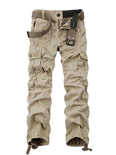 OCHENTA Herren Freizeithose Wasserwäsche Cargohose mehrere Tasche aus Baumwolle Loose-Fit Kaki W36