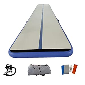 Great River Hill Inflatable Training Mat Gymnastics Mat for Fitness Made by Hand with Free Electric Pump