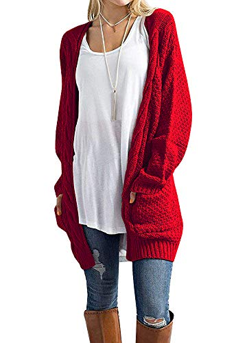 - Misassy Womens Boho Open Front Cardigans Loose Cable Chunky Knit Sweater Pointelle Pullover with Pockets Red