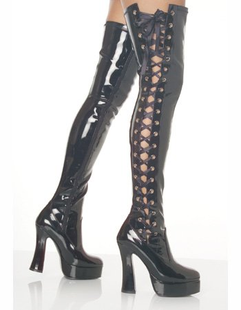 Amazon.com | Black Lace Up Side Sexy Thigh High Boot - 13 | Over ...