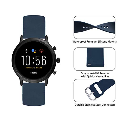 Qiyiguo Compatible for Fossil Gen 5 Smartwatch (Julianna/Carlyle/Garrett) Band, Replacement 22mm Solid Color Watch Band Compatible for Samsung Galaxy Watch 46mm/ TicWatch Pro- Navy (S)