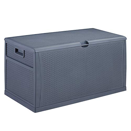 Patio Deck Box Outdoor Storage Plastic Bench Box,120-Gallon (Grey)