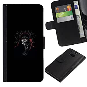 NEECELL GIFT forCITY // Billetera de cuero Caso Cubierta de protección Carcasa / Leather Wallet Case for HTC One M8 // Darth Terminator Señor divertido