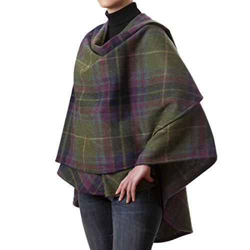 Biddy Murphy Wool Cape 100% Lambswool Purple & Green Plaid Made in Ireland