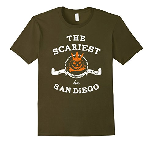 Mens The Scariest Pumpkin In San Diego Halloween T-Shirt Funny Small Olive